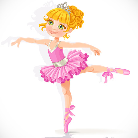 Beautiful little blond ballerina girl in pink dress isolated on a white background Illusztráció
