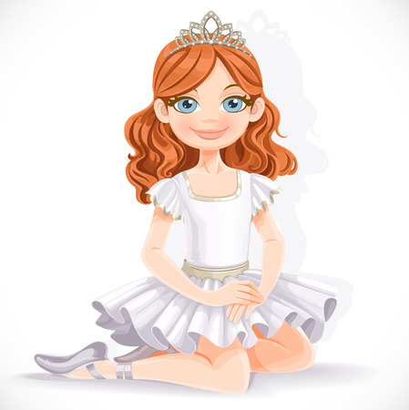 Cute ballerina girl in white dress and tiara sit on floor isolated on a white background Illustration