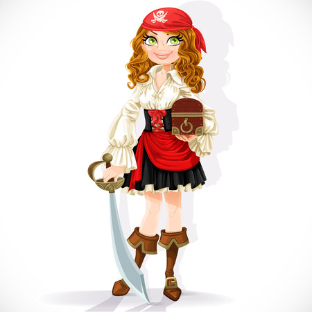 cute girl with long hair: Cute pirate girl with cutlass and chest isolated on a white background