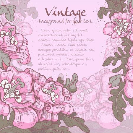 oldened: Decorative vintage violet frame of poppies for your message Illustration