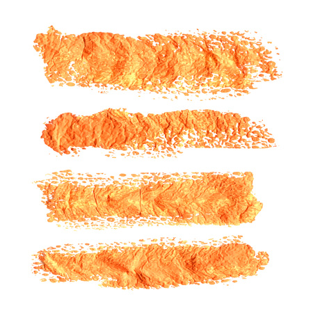 watercolour paintbrush: Abstract orange textural prints thick smears of paint on paper Illustration