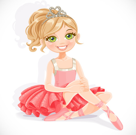 Beautiful ballerina girl in pink dress sit on floor isolated on a white background Vector