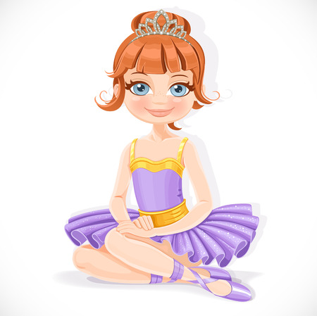 Beautiful ballerina girl in purple dress and tiara sit on floor isolated on a white background