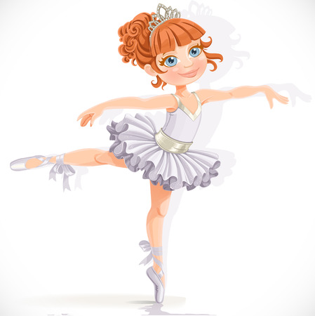 흰색 배경에 격리 된 흰 드레스에 아름 다운 작은 발레리 나 소녀