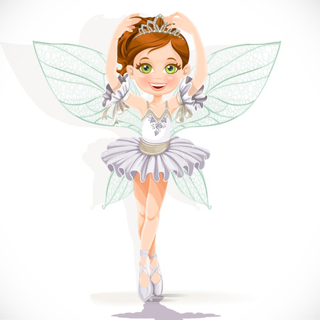 Beautiful little fairy girl in white dress and tiara isolated on a white background