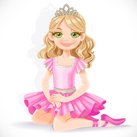 Cute ballerina girl in pink dress and tiara sit on floor isolated on a white background Illustration