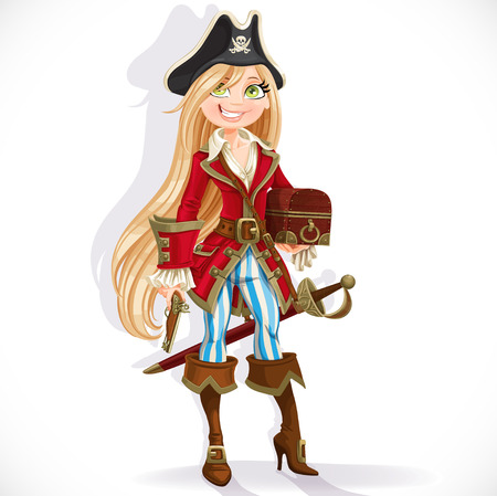 Cute blond pirate girl with cutlass, pistol and chest isolated on a white background Vector