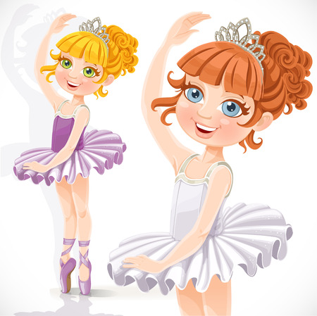 Cute little ballerina girl in tiara and tutu isolated on a white background Vector