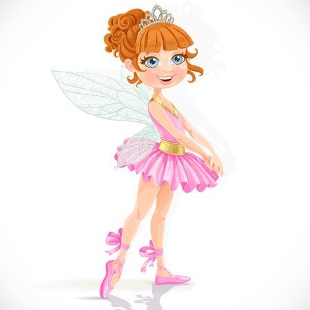 흰색 배경에 고립 된 티아라의 귀여운 작은 요정 소녀