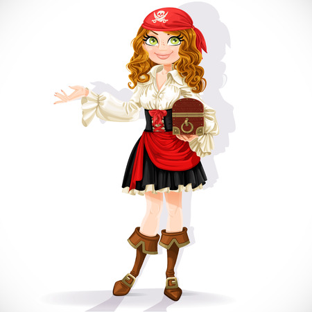 Cute pirate girl with chest isolated on a white background Çizim