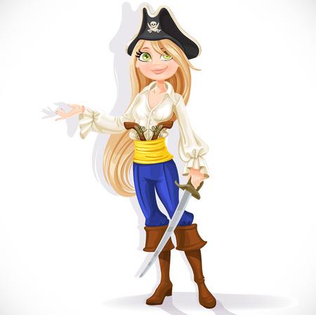 cutlass: Chica pirata lindo con machete aislado en un fondo blanco Vectores