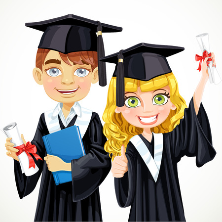 Cute teenage girl and boy in cap and gown graduate holding a scroll diploma Vector