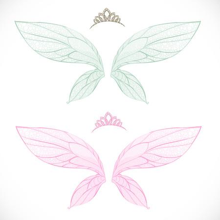 티아라와 요정 날개는 흰색 배경에 고립 된 번들 일러스트