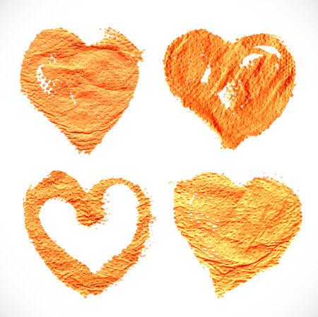 textural: Abstract orange textural heart shape prints