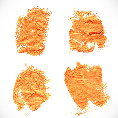 smears: Abstract orange textural prints thick smears of paint on paper Illustration
