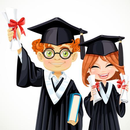 graduacion caricatura: Estudiantes inteligentes felices muchacho pelirrojo con gafas y una niña cogidos de rollos Vectores