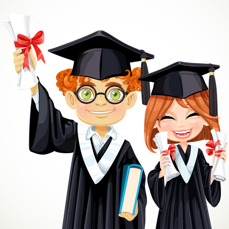 Happy smart students redhead boy in glasses and girl holding scrolls Ilustração