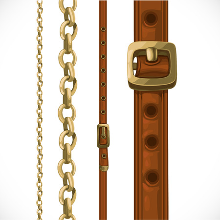 belt buckle: Leather belts with brass buckles and large and small seamless chain Illustration