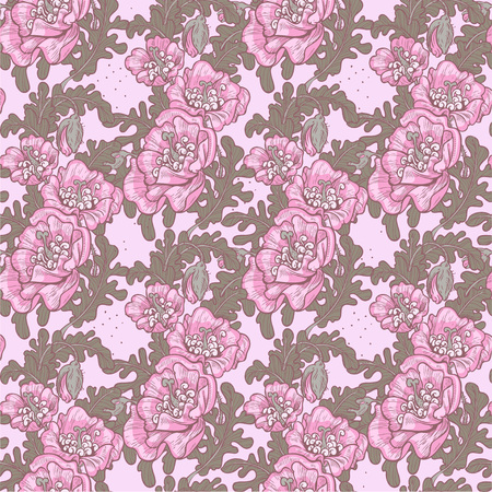 Seamless pattern of vintage decorative violet poppies Vector