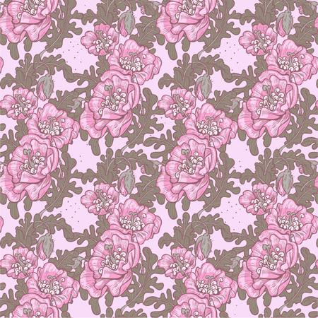 oldened: Seamless pattern of vintage decorative violet poppies