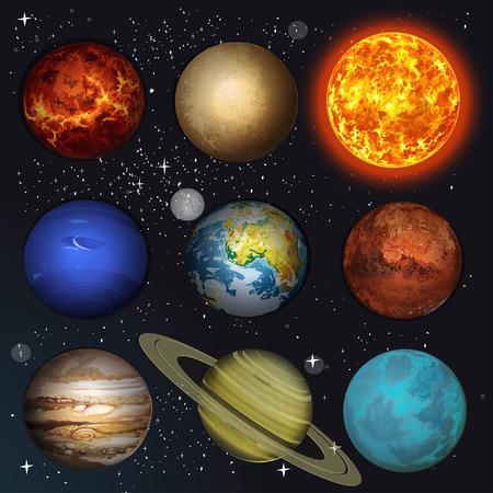 Illustration der Planeten im Sonnensystem und Sonne auf Sterne Hintergrund