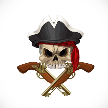 skull and cross bones: Jolly Roger in pirate hat and with pistols Illustration