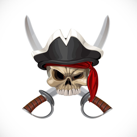 Jolly Roger in pirate hat and with sabers Vector