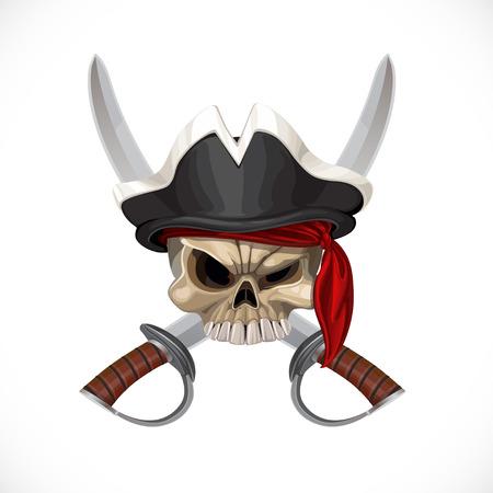 Jolly Roger in Piratenhut und mit Säbeln