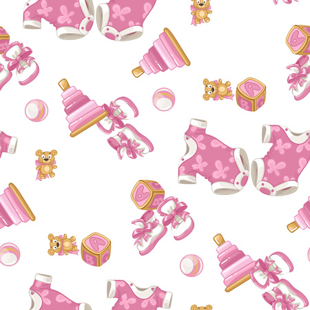 Pink seamless pattern with items for newborn baby Vector