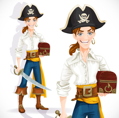 Cute pirate with cutlass and chest isolated on a white background