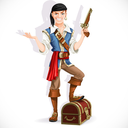 Cute pirate with pistol and chest isolated on a white background Ilustrace