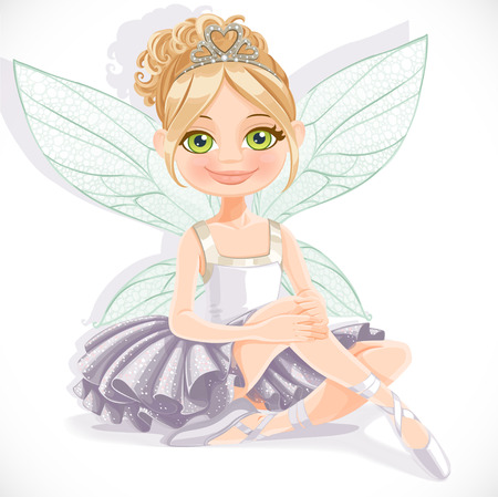 Fairy girl in white dress sit on floor isolated on a white background Vector