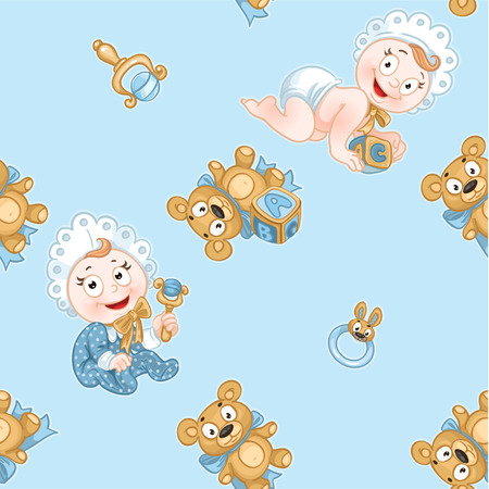 Blue seamless pattern with newborn baby and toys Ilustração
