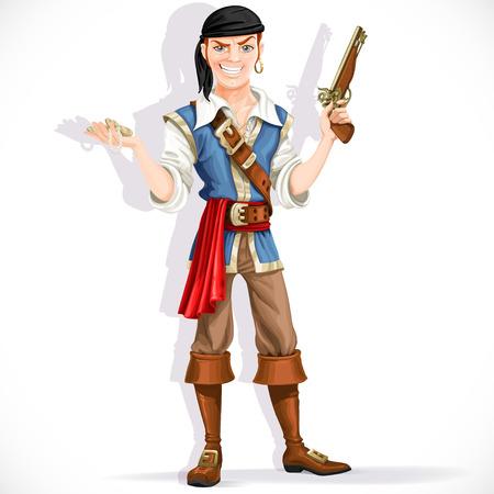 Dappere piraat met pistool geïsoleerd op een witte achtergrond