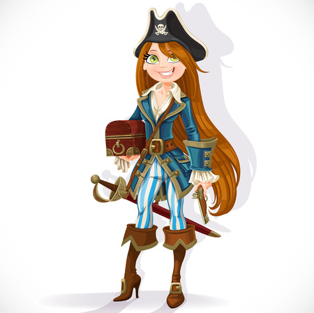 Cute pirate girl with cutlass, pistol and chest isolated on a white background Vector