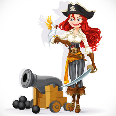 Cute pirate girl with parrot and cannonry isolated on a white background Illustration