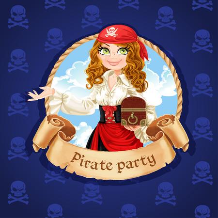 Brave fille de pirate avec coffre au trésor. Bannière pour Parti Pirate Banque d'images - 33084901