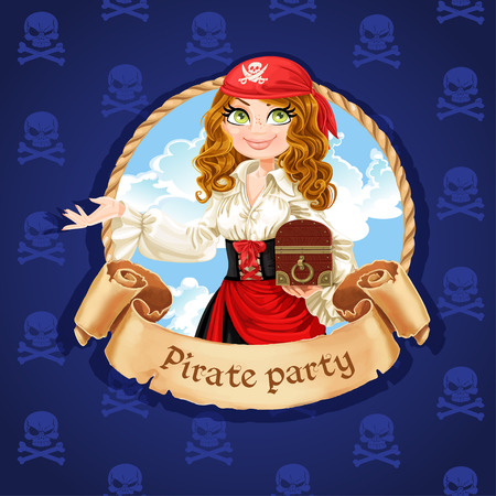cute girl with long hair: Brave pirate girl with treasure chest. Banner for Pirate party