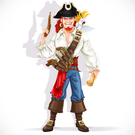 captain cap: Brave pirate with pistol hold pirate treasure map isolated on a white background