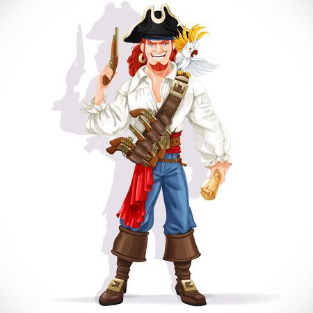 Dappere piraat met een pistool greep piratenschat kaart geïsoleerd op een witte achtergrond