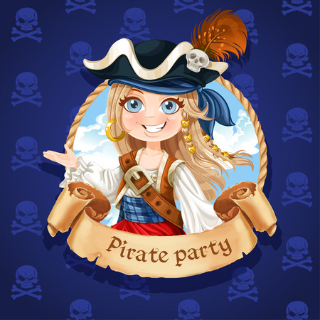 sailor hat: Cute girl pirate. Banner for Pirate party