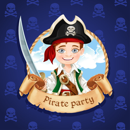 Cute little boy pirate with cutlass. Banner for Pirate party Vector