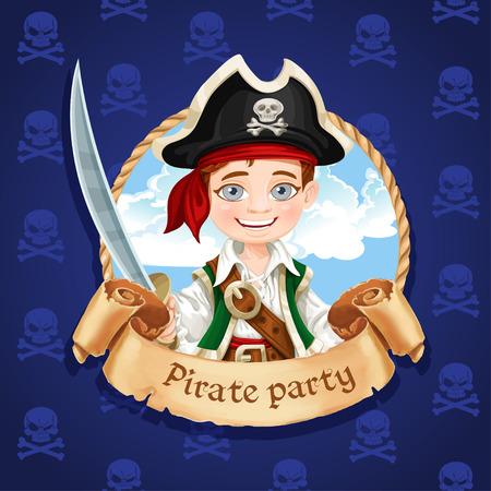 sombrero pirata: Pequeño pirata Muchacho lindo con el machete. Banner para la fiesta pirata Vectores