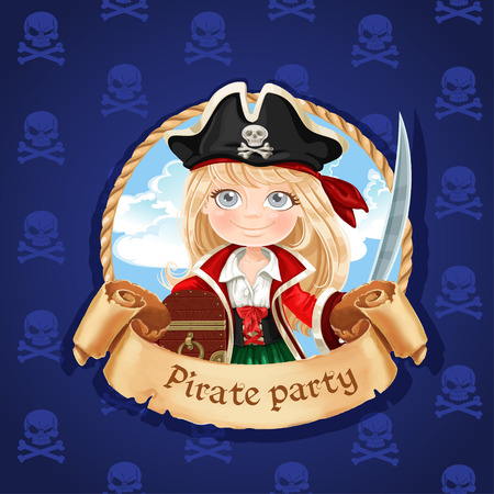 child smiling: Cute little girl pirate with treasure chest. Banner for Pirate party