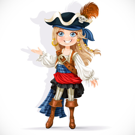 pirate cartoon: Cute little pirate girl isolated on a white background
