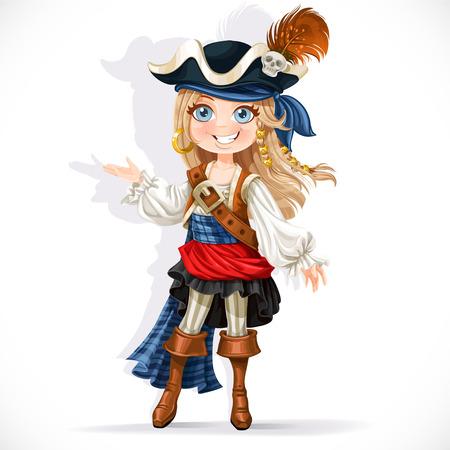 sombrero pirata: Pequeña muchacha linda del pirata aislado en un fondo blanco