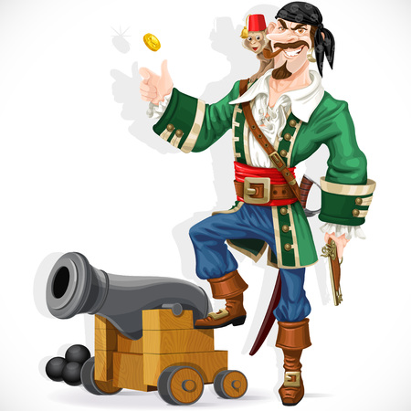 Cute pirate with monkey throw up golden coin stand  on cannon Illustration
