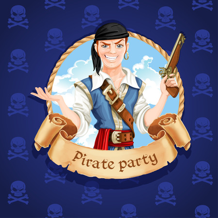 Cute pirate. Banner for Pirate party Vector
