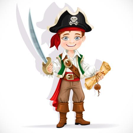 pirata: Pirata del muchacho lindo con el machete aislado en un fondo blanco