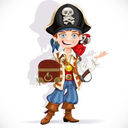 Leuke piraat jongen met rode papegaai greep schatkist geïsoleerd op een witte achtergrond